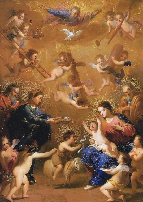 Histoire à lire en famille - La Sainte Famille visitée par sainte Elisabeth, Zacharie et saint Jean-Baptiste - Jacques Stella (1596-1657)