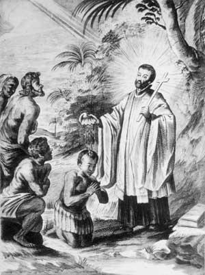 Histoire missionnaire - Saint François-Xavier baptisant des indigènes