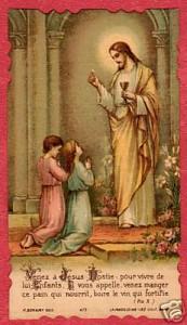 Images de première communion - Deux enfants communient