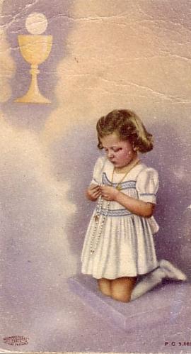 sacrement de l'Eucharistie - image de première communion petite fille