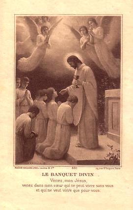 Images pieuses, Dieu-Eucharistie se donne aux enfants