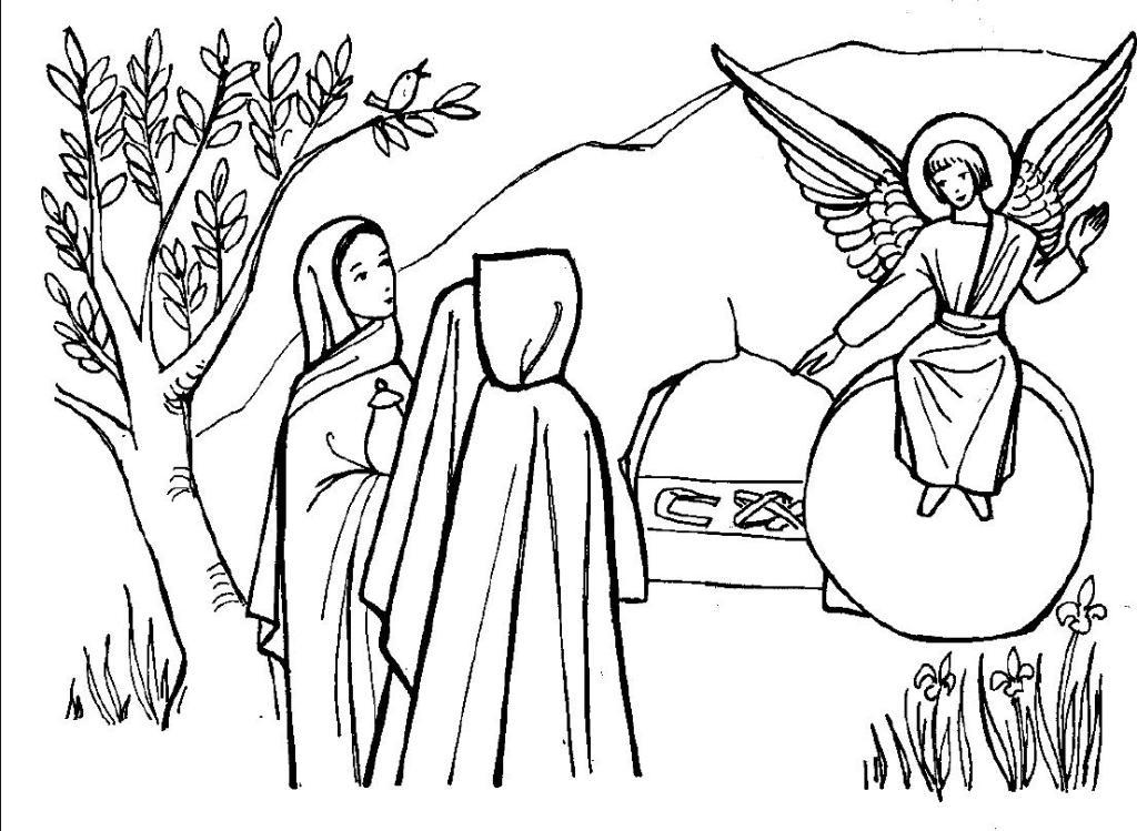 Coloriage de l'ange de Pâques et les saintes femmes