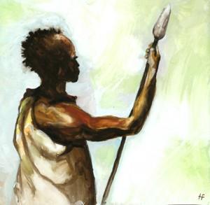 Récit d'Afrique - pardon - Africain à la sagaie