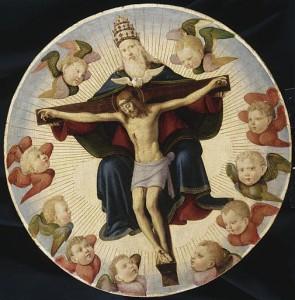 Illustration du mystère de la Trinité - La Trinité entourée de chérubins