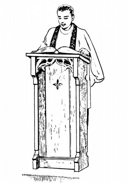 Coloriage pretre lisant pendant la messe