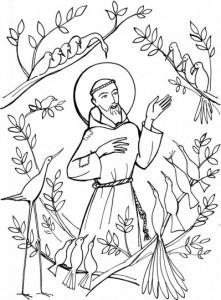 Coloriage de St François parlant aux animaux