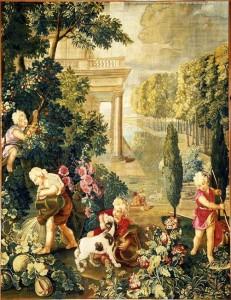 Les Enfants jardiniers : Eté. Enfants arrosant et jouant avec un chien - Desportes François (d'après Charles Le Brun)