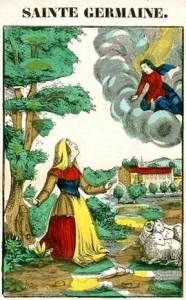 Extampe : Sainte germaine en oraison avec le ciel