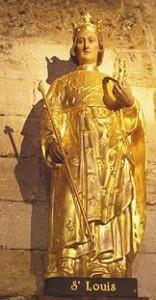 Satue dorée polychrome de saint  Louis