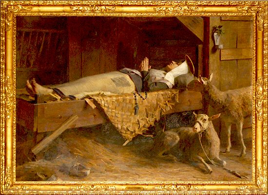 Histoire pour les enfants - ste Germaine morte sur son grabat -  tableau