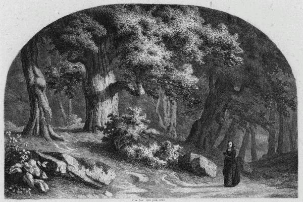 Prêtre dans une forêt - Alexandre BAR (graveur, dessinateur)