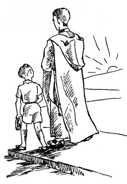 Enfant accompagnant le prêtre portant le Saint Sacrement