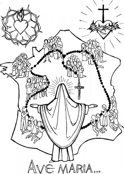 Coloriage pour le catéchisme - Ave Maria - Communion des saints - France
