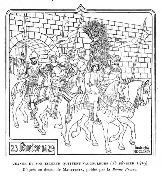 Coloriage : Jeanne et son escorte quittent vaucouleurs