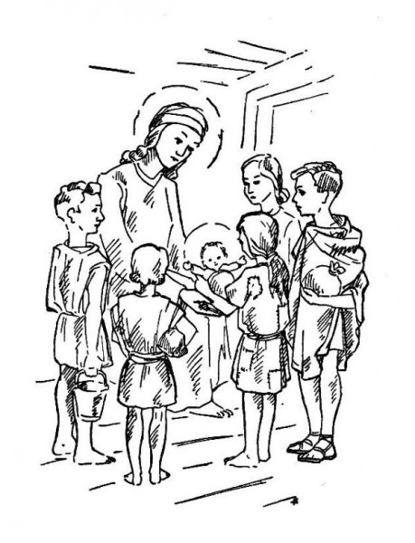 Coloriage : Le plus beau cadeau - Histoires pour la première communion