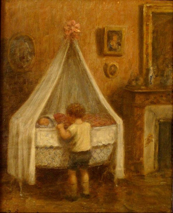 Enfant qui regarde sa petite soeur au berceau 1931 - récit pour se préparer à la première communion
