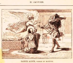 Coloriage de Saint Agnès protégé par l'ange