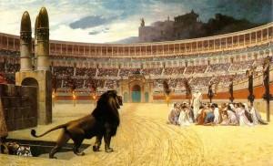 récit du martyre de chrétiens jetés aux lions