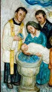 Bas-relief - sacrements Baptème bébé - petit frère