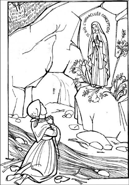 Coloriage apparition de la Sainte Vierge à Sainte Bernadette à Lourdes