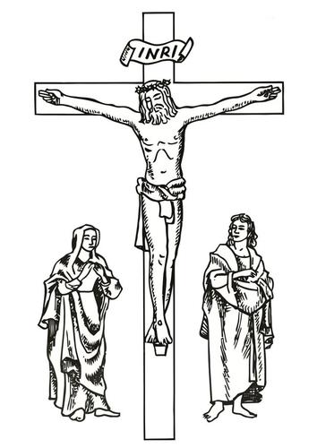 Coloriage chemin de croix vendredi-saint - crucifixtion