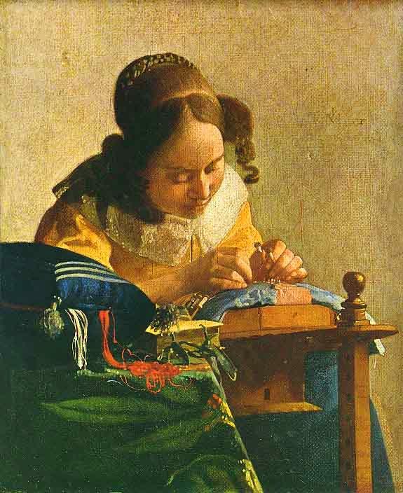 dentelliere - Jan Vermeer - 1670. Histoire des crêpes du 2 février, la Purification