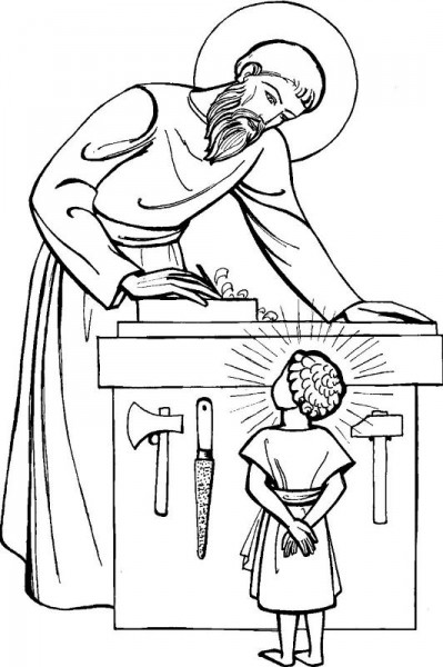 Coloriage pour le catéchisme : Saint Joseph menuisier
