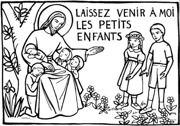 Coloriage du catéchisme : Laisser venir à moi les petits enfants