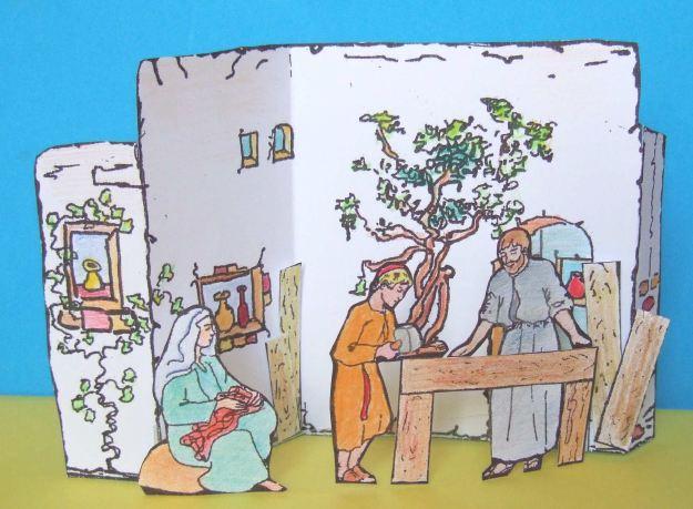 Image de la maquette réalisée : Saint Joseph travaillant à Nazareth