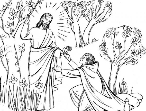 Coloriage de Pâques : Jesus ressuscité apparait à Marie-Madeleine
