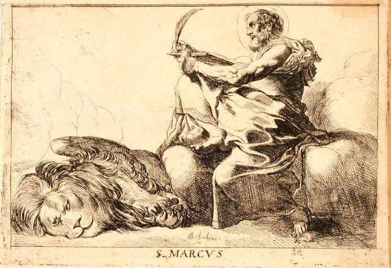 Gravure à colorier Saint Marc évangéliste et Lion