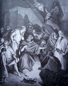 Vie de Saint Marc. gravure Gustave Doré - La Bible - Reniement de saint Pierre
