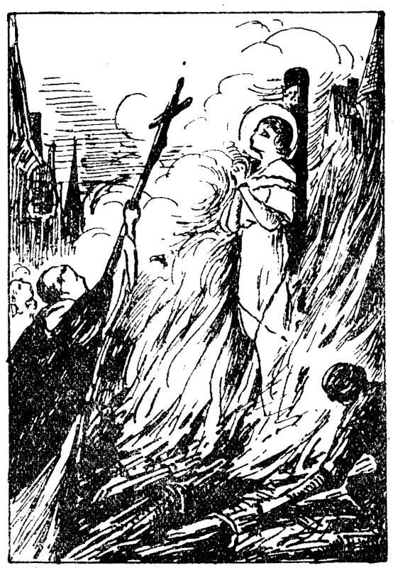 Sainte Jeanne d'Arc est brûlée vive à Rouen. histoire pour la jeunesse