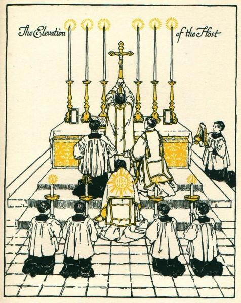 Prêtre du Seigneur célébrant la messe