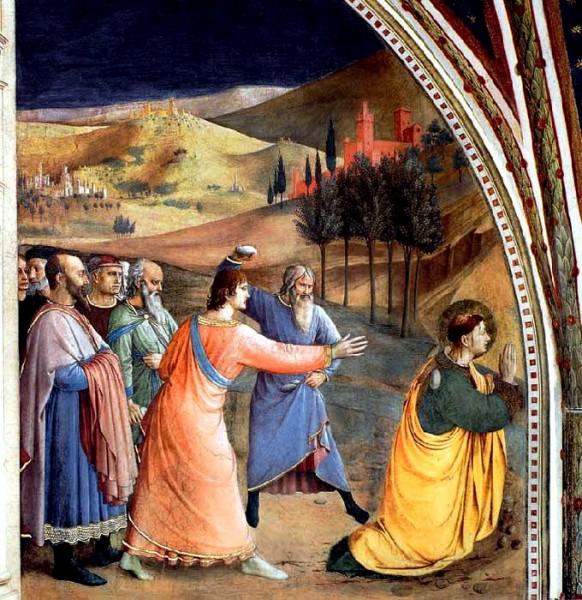 Lapidation de saint Etienne, hors des murs de Jérusalem, Saint Paul tient les vêtements - Fra Angelico