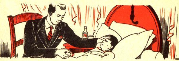 Communion à un malade - Léon est malade ; le docteur l'examine