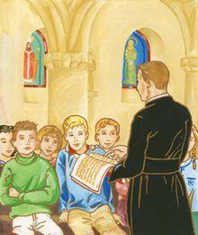 Histoire pour la jeunesse - pretre faisant le Catéchisme aux garçons