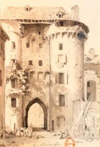 Gravure de la porte de Marvejols