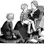 Coloriage liturgie pour les momes du catéchisme : Maman, Colette et Pierrot