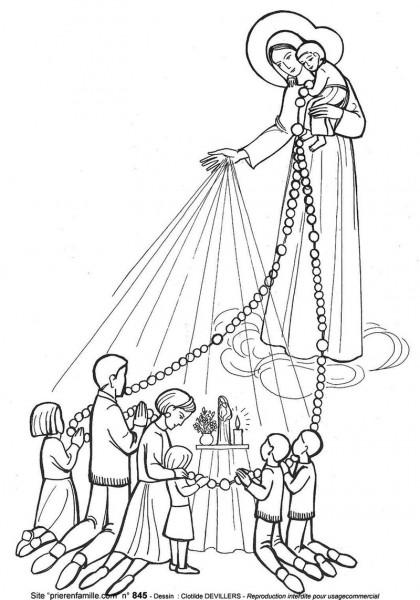 Coloriage de ND du Rosaire - le chapelet en famille avec les petits