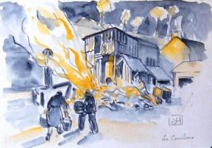 Histoire de la maison en feu et du sauvetage du capitaine blessé