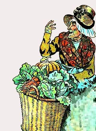 vielle femme et son panier de légumes