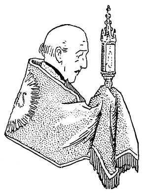 Coloriage pour les mômes : Voile huméral que le prêtre utilise pour la bénédiction du Saint-Sacrement