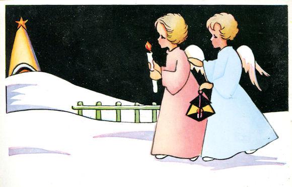 Anges enfantins marchant sur la neige vers la crèche de la Nativité
