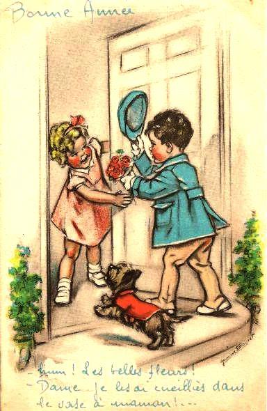 Deux enfants se souhaitent la bonne année - Germaine Bourret