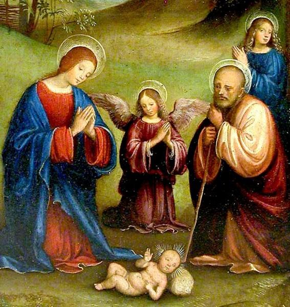 Francesco RAIBOLINI dit FRANCIA - L'Adoration de l'Enfant. Détail. Bologne vers 1450 - 1517. Le Louvre, Paris