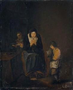 Voeux de bonheur - Vieille femme et garçonnet