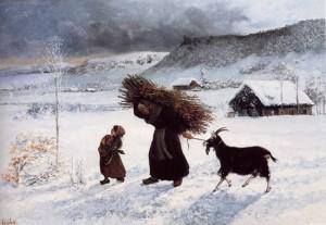 Enfant accompagnant une femme lourdement chargée