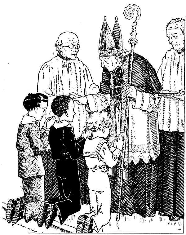 Coloriage de confirmation - l'évêque confirme des enfants