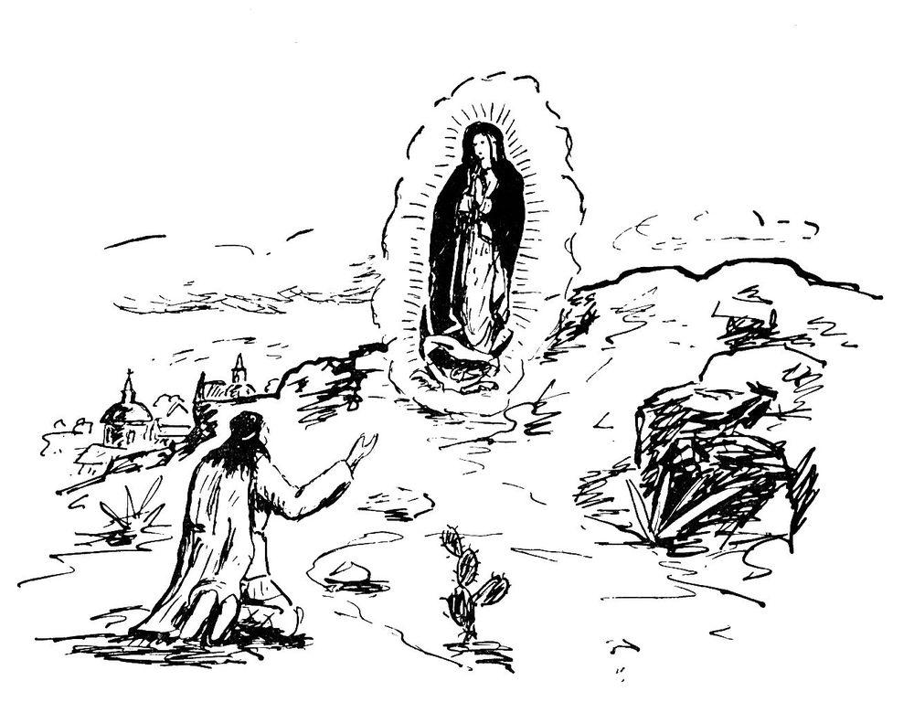 Coloriage image sainte pour le caté : Apparition de ND de Gadeloupe à Juan